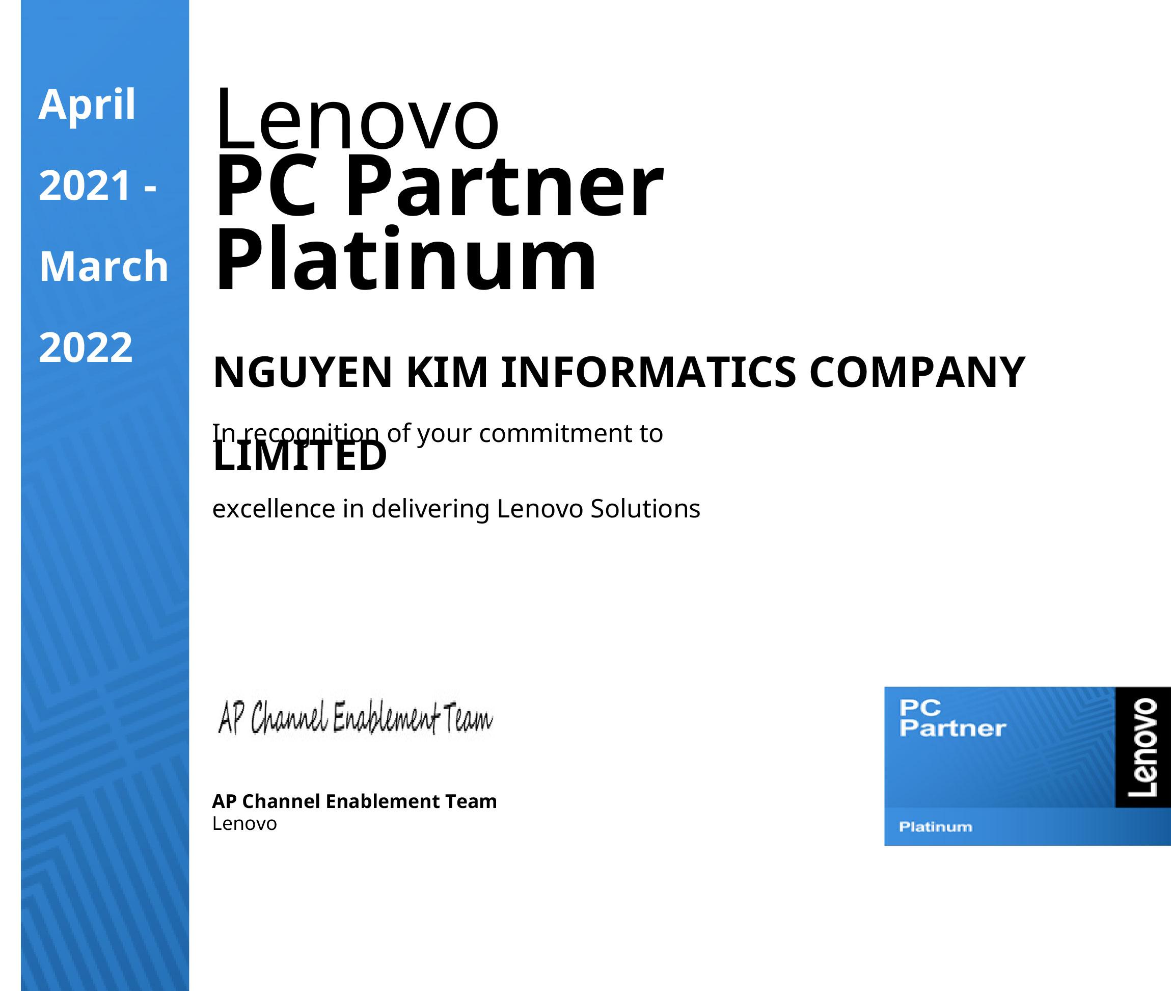 Vi tính Nguyên Kim là Lenovo Platinum PC Partner 2021