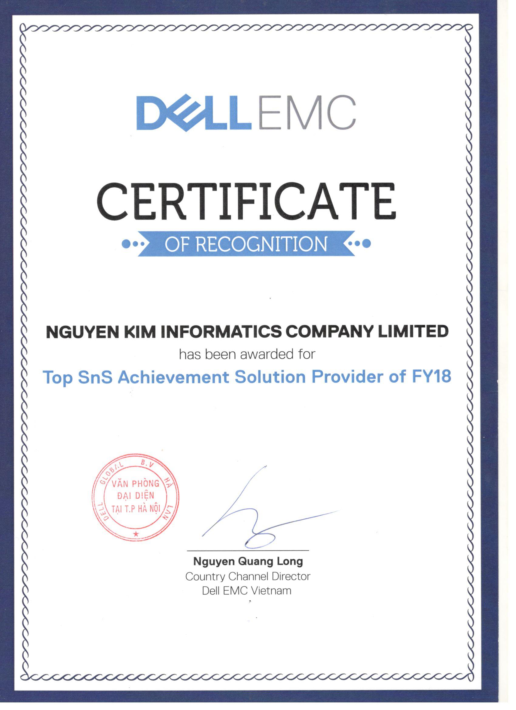 Chứng nhận DELLEMC Certificate Of Recognition 2018