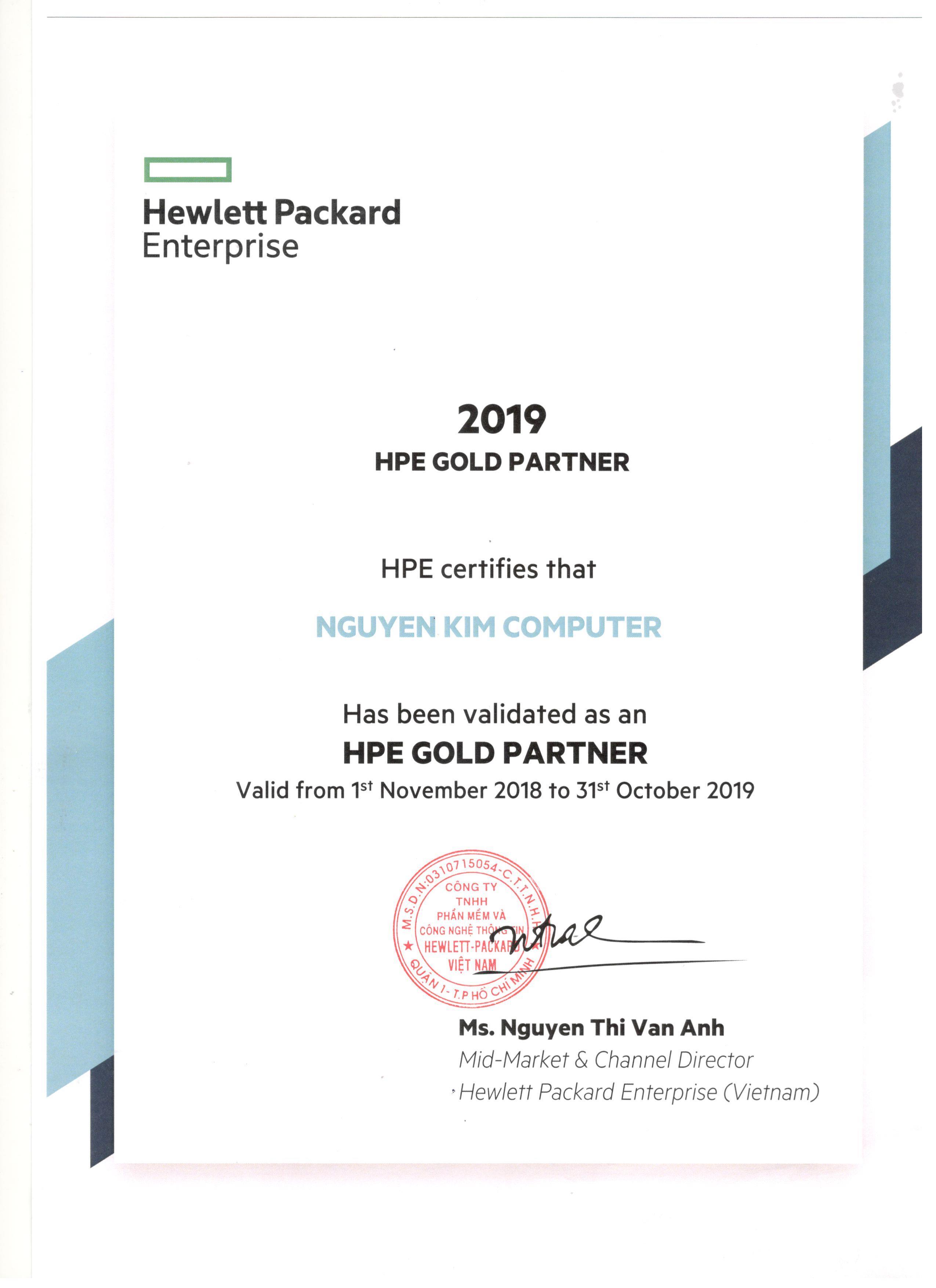 Chứng nhận HPE GOLD PARTNER 2019