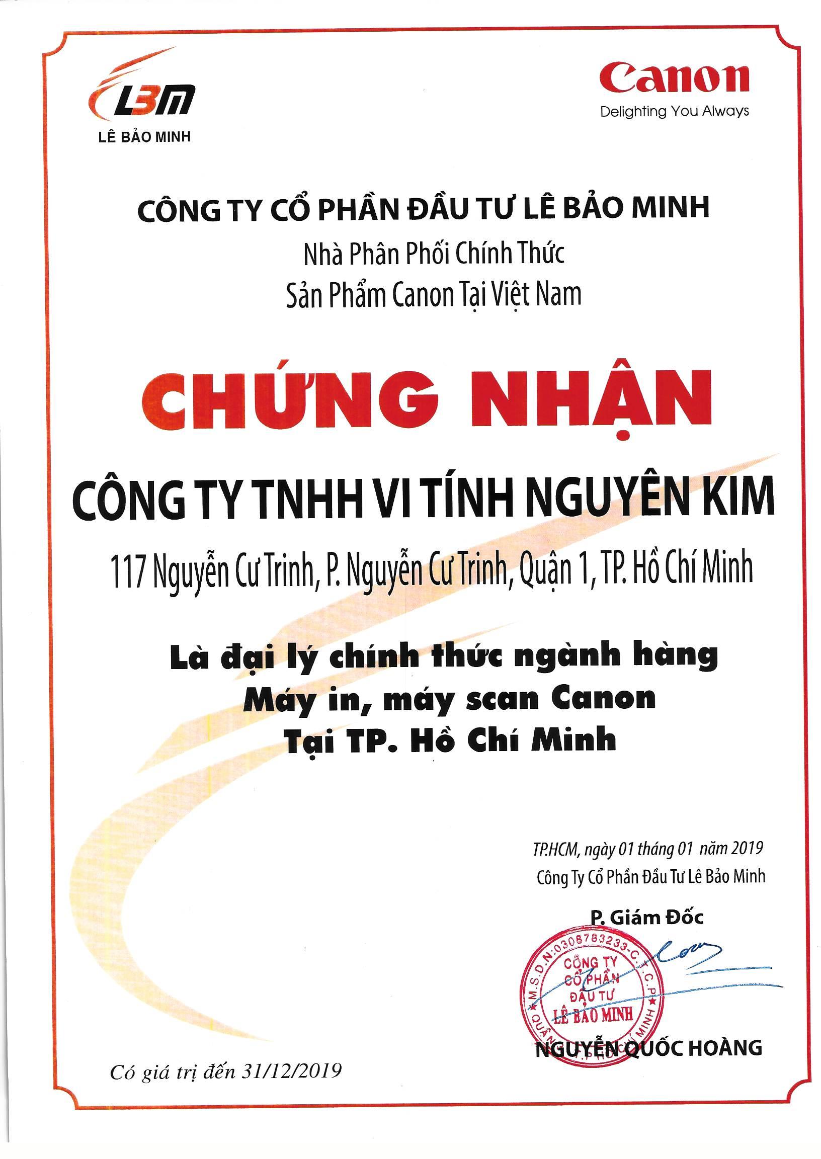 Chứng nhận đại lý chính thức của Canon tại Việt Nam năm 2019