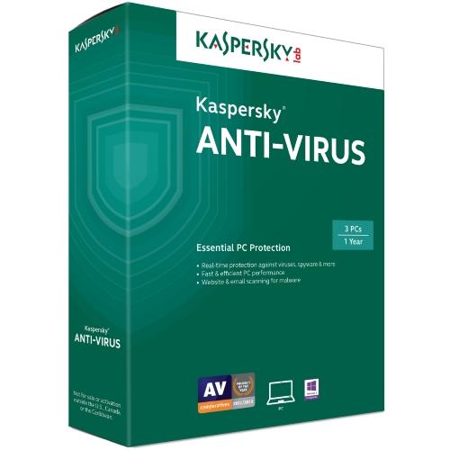 Phần mềmKaspersky Antivirus 3 PC- bảo vệ toàn diện cho hệ thống gồm 3 máy tính