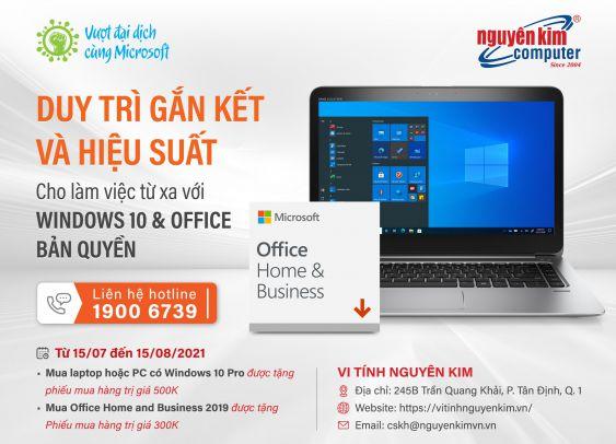 Duy trì gắn kết và hiệu suất cho làm việc từ xa với Windows 10 và Office Business bản quyền